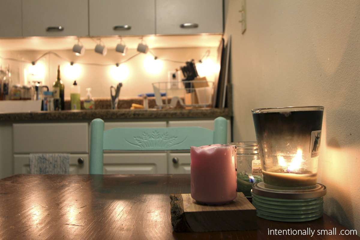 String Lights Above Kitchen Cabinets : lighting a small space Intentionally Small
