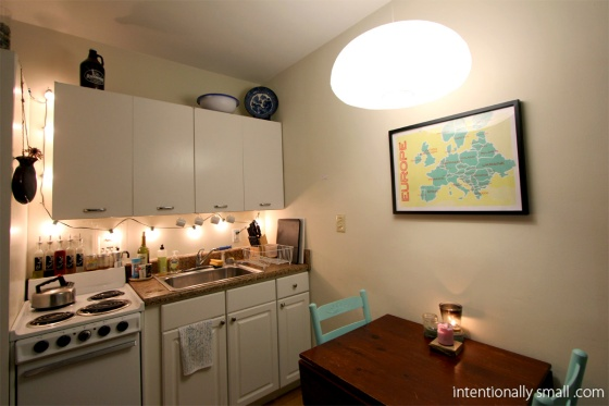 Lighting a Small Space - Kitchen Task Lighting and Paper Lantern Pendant