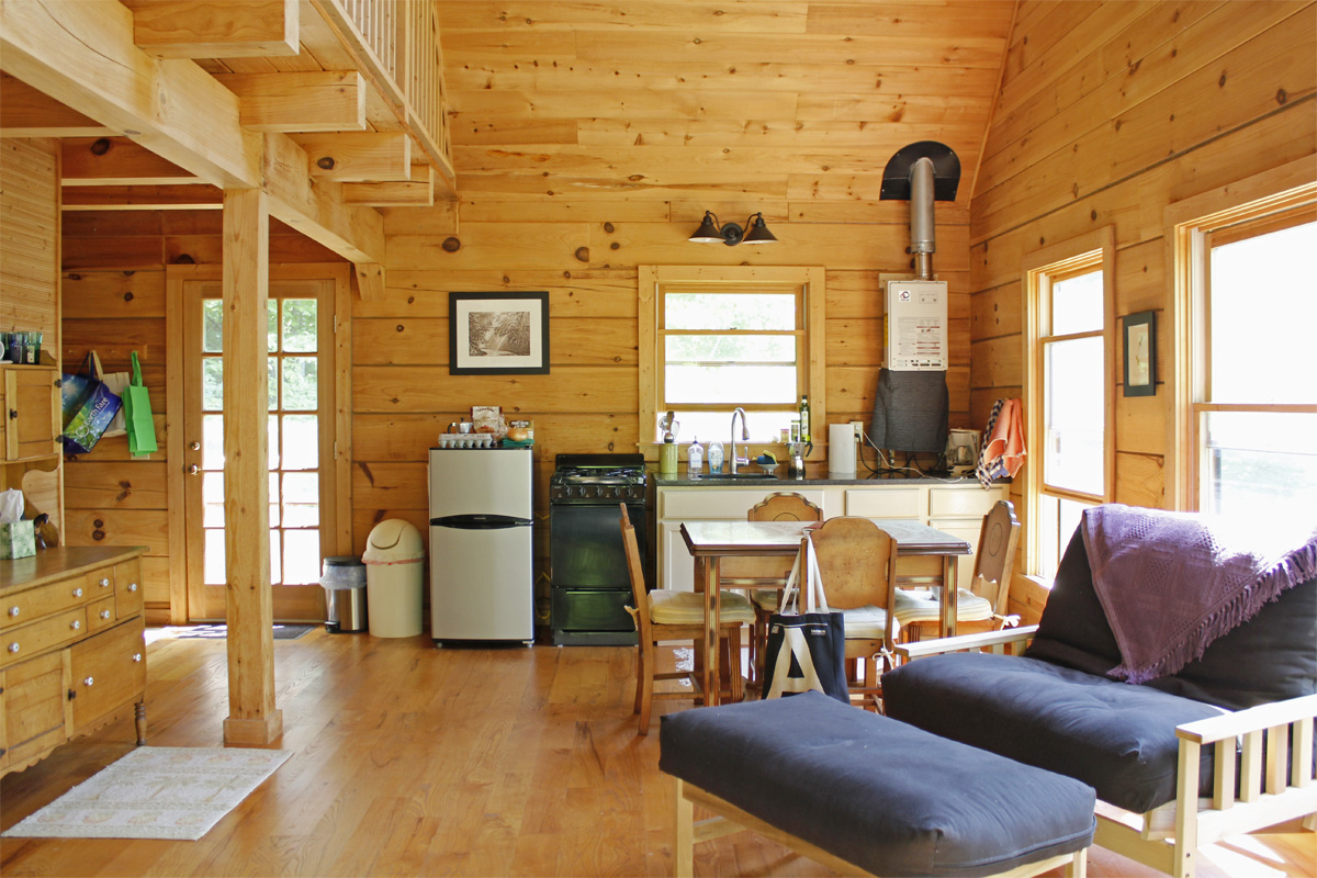 830 sqft cabin in the woods intentionally small Cottage with loft