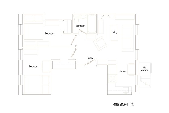 Margaret and Brandons 485 sqft Brooklyn Apt Plans